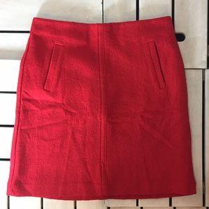 Ann Taylor Red Wool-blend A-line Skirt.1837